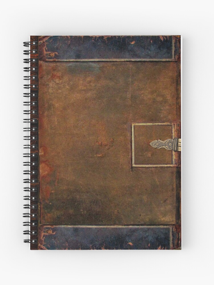 Old Worn Leather Book Cover Design Spiral Notebook