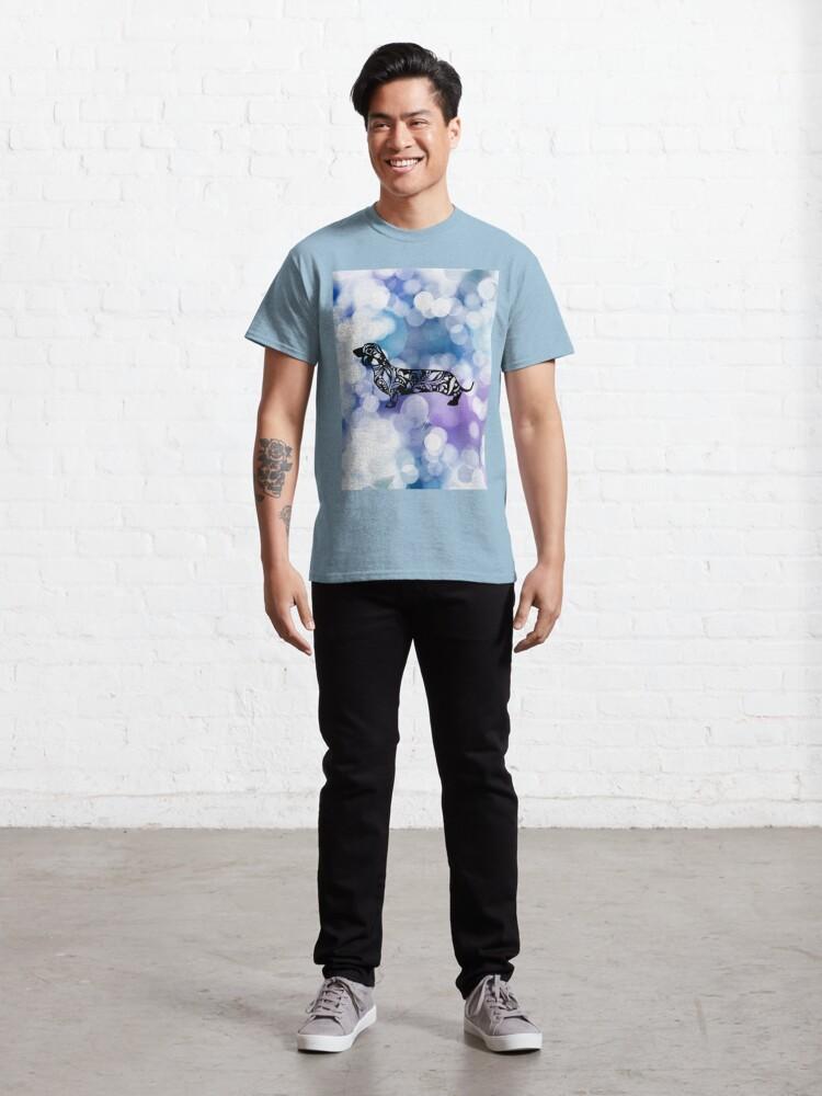 Alternate view of Blue Purple Glittering Dachshund Mandala Classic T-Shirt