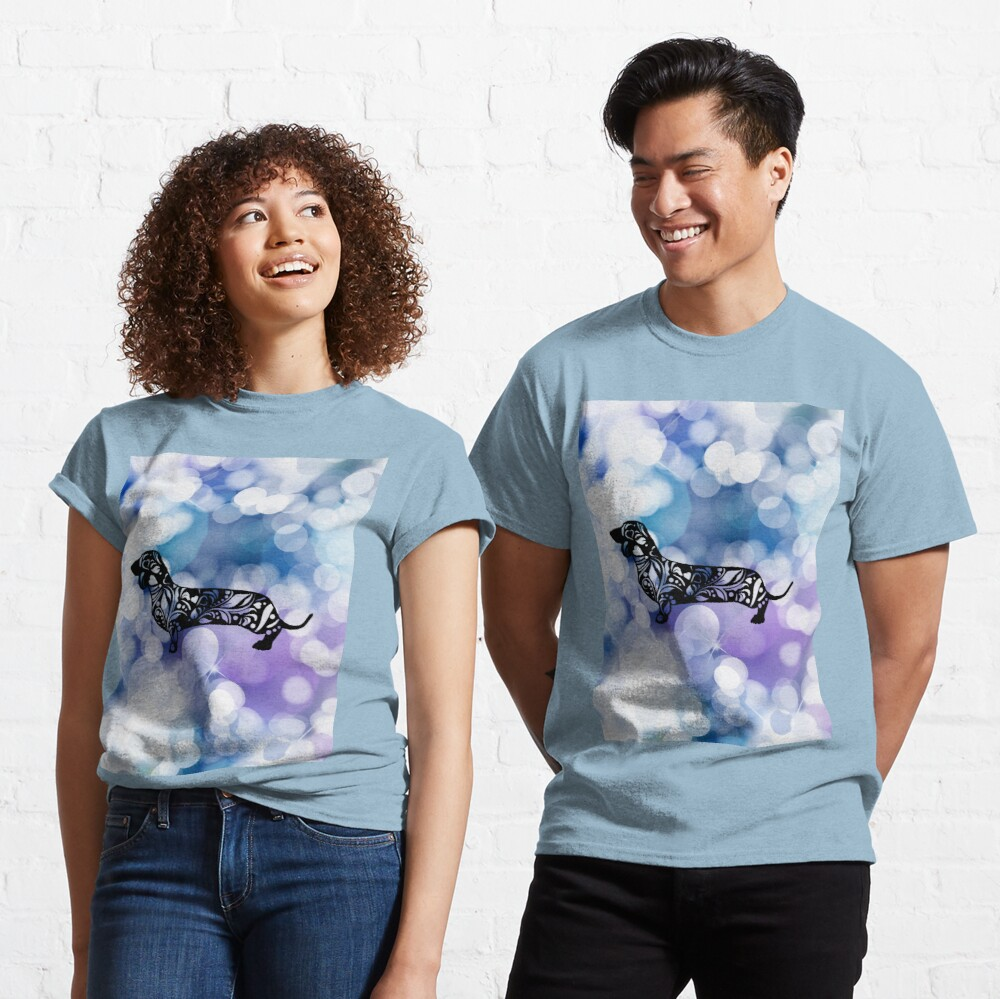 Blue Purple Glittering Dachshund Mandala Classic T-Shirt
