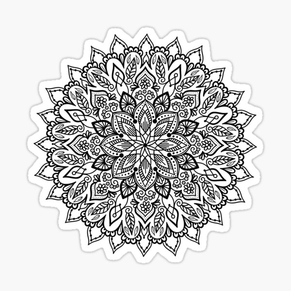 Mandala number 7 black flower Sticker