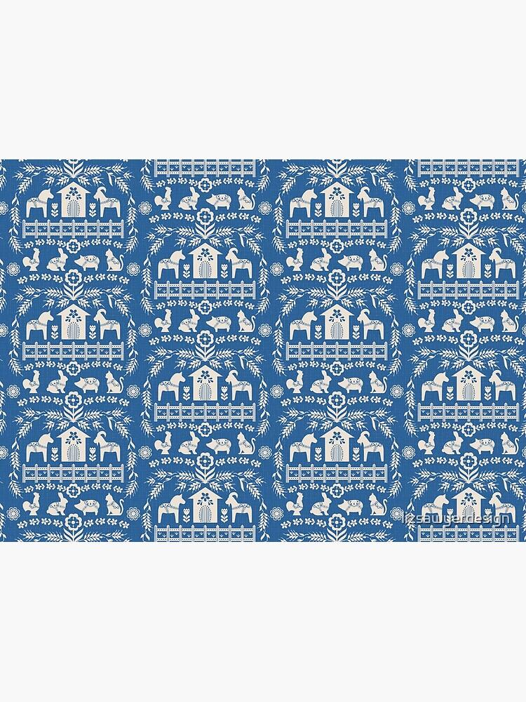 Dala Farm in Blue by lizsawyerdesign