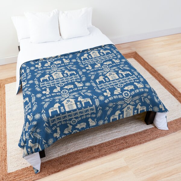 Dala Farm in Blue Comforter