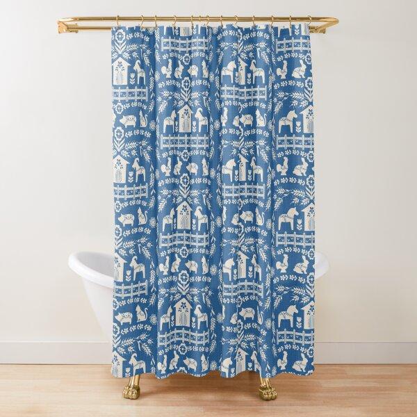 Dala Farm in Blue Shower Curtain