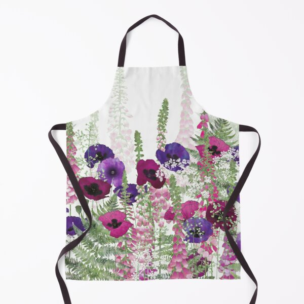 Purple Poppies, Pink Foxgloves & Ferns Apron