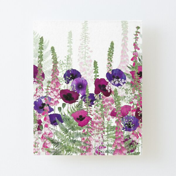 Purple Poppies, Pink Foxgloves & Ferns Canvas Mounted Print