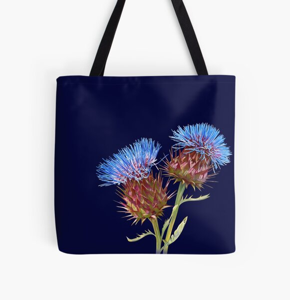 Scottish Thistle (Navy) All Over Print Tote Bag