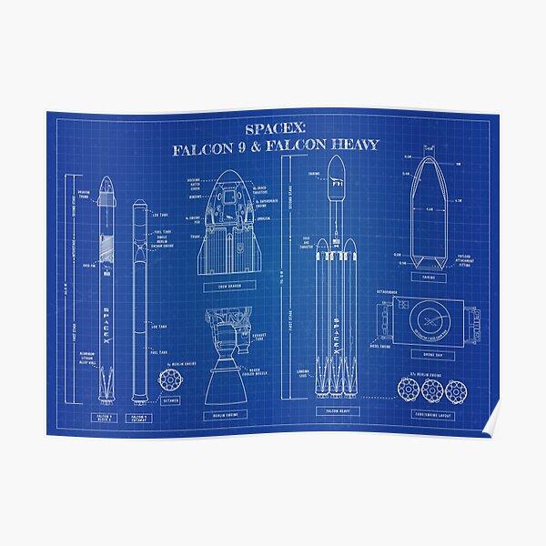 SPACEX: Falcon 9 & Falcon Heavy (Blueprint) Poster