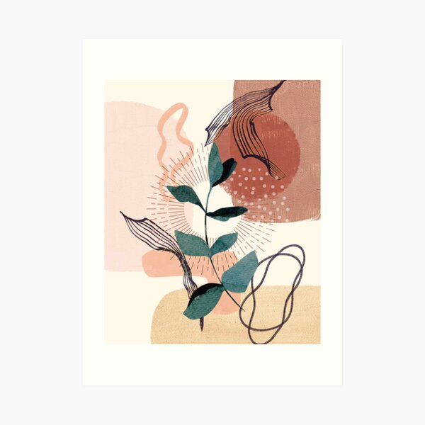 Eucalyptus Watercolor Branch Abstract Tropical Boho Minimalist Art with warm earthy tones and pastel colors with solid and soft gradient shapes VII Art Print