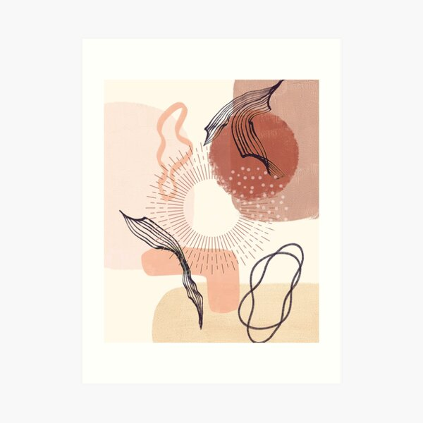 Boho Abstract Minimalist Scandinavian Art with warm earthy tones and pastel colors with solid and soft gradient shapes I Art Print