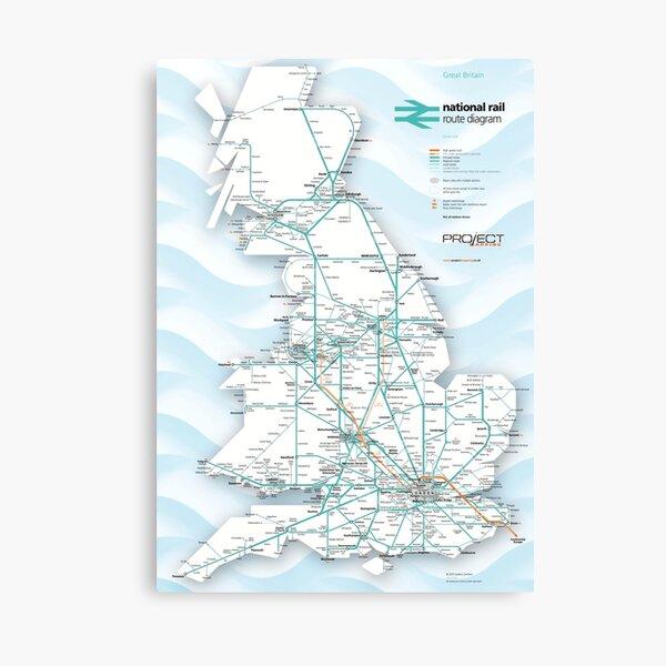 Great Britain train rail route map Canvas Print