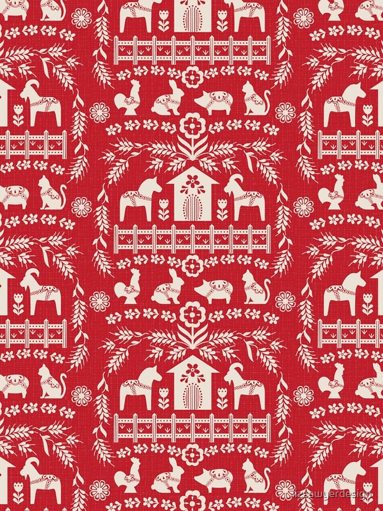 Dala Farm in Red by lizsawyerdesign