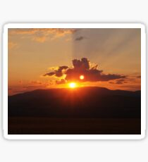 Sunset over mountains Sticker