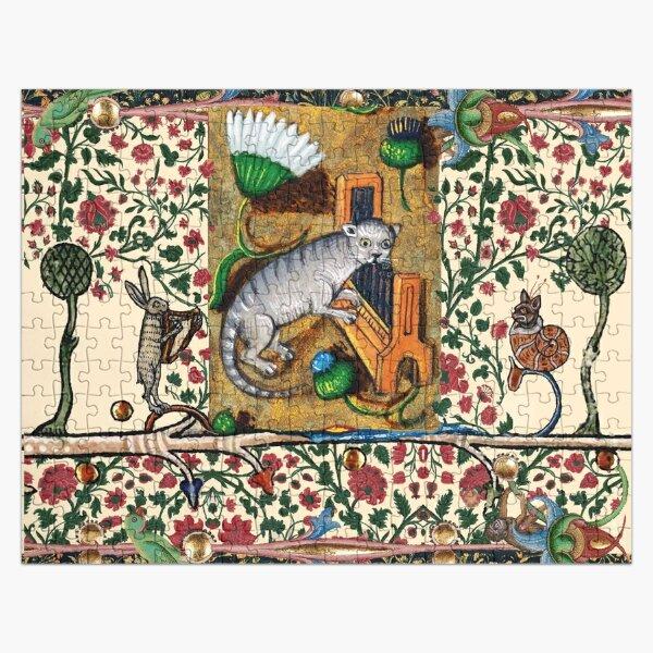WEIRD MEDIEVAL BESTIARY MAKING MUSIC,Cat Playing Organ,Harpist Rabbit,Snail Cat Jigsaw Puzzle