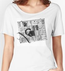 analog synthesizer illustration b&w - music equipment Women's Relaxed Fit T-Shirt