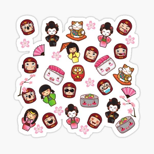 Kawaii Daruma Geisha Japanese Cute Pattern Sticker