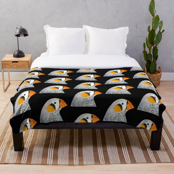 Zebra Finch Bird Throw Blanket