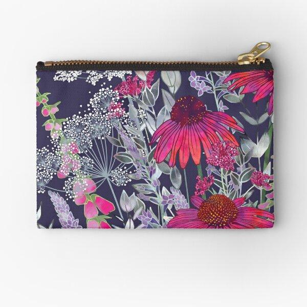 Pink Flower Garden - Echinacea Flowers, Foxgloves & Ammi Zipper Pouch