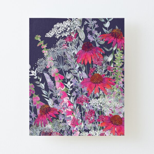 Pink Flower Garden - Echinacea Flowers, Foxgloves & Ammi Canvas Mounted Print