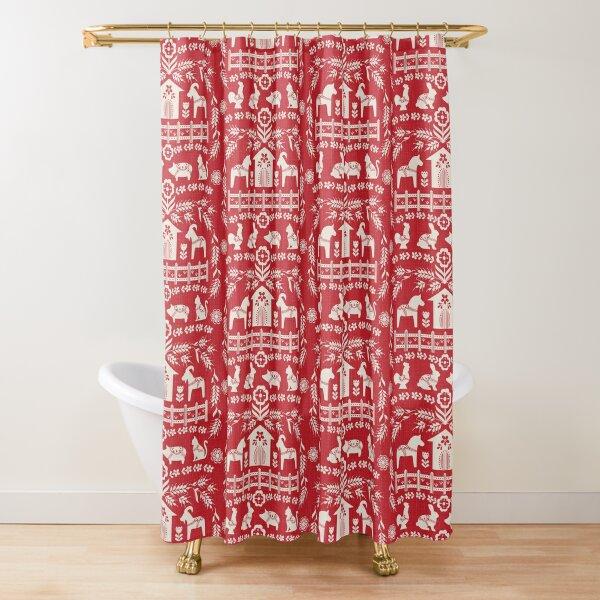 Dala Farm in Red Shower Curtain