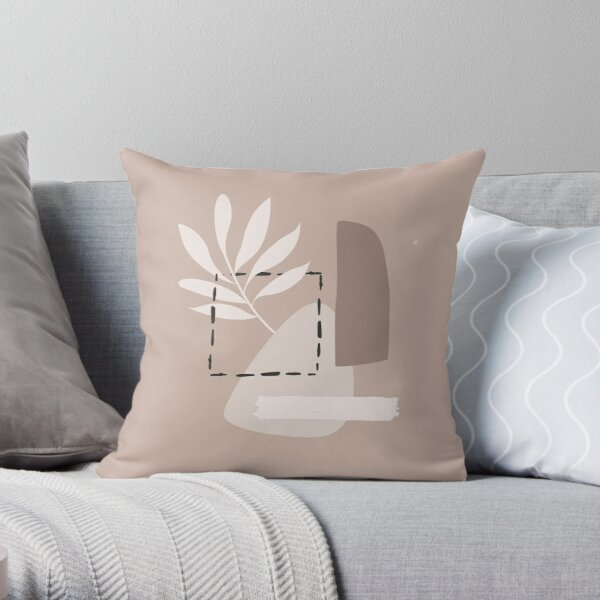 Minimal Modern  Abstract Shapes  leave  Warm Tones  Design Throw Pillow