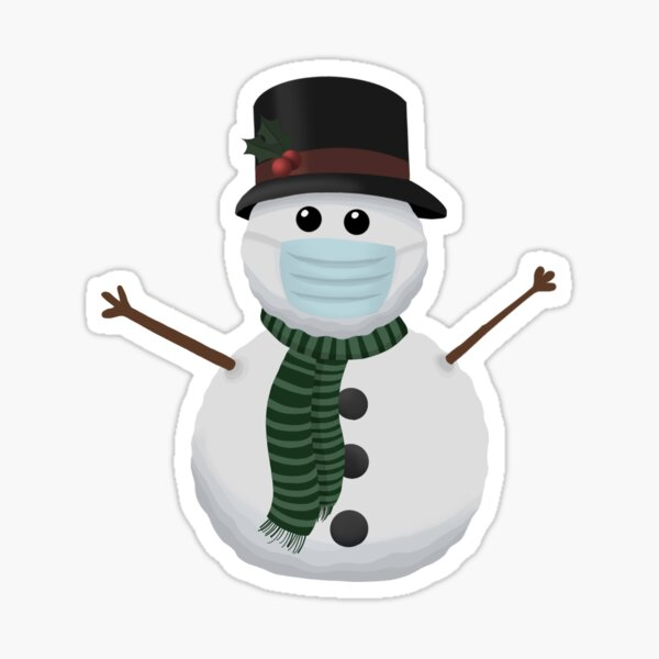 Snowman with a Mask Sticker