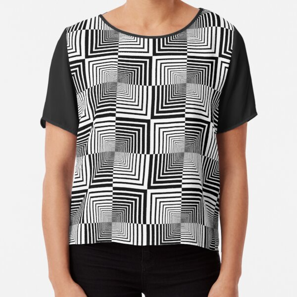 Squares, Op art, short for optical art, is a style of visual art that uses optical illusions Chiffon Top