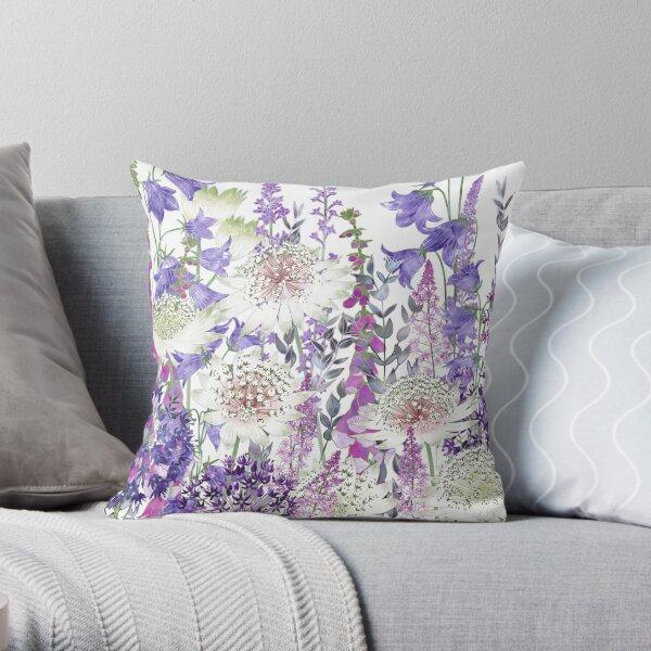 Flower Garden - Astrantia, Campanula, Foxgloves & Alliums Throw Pillow
