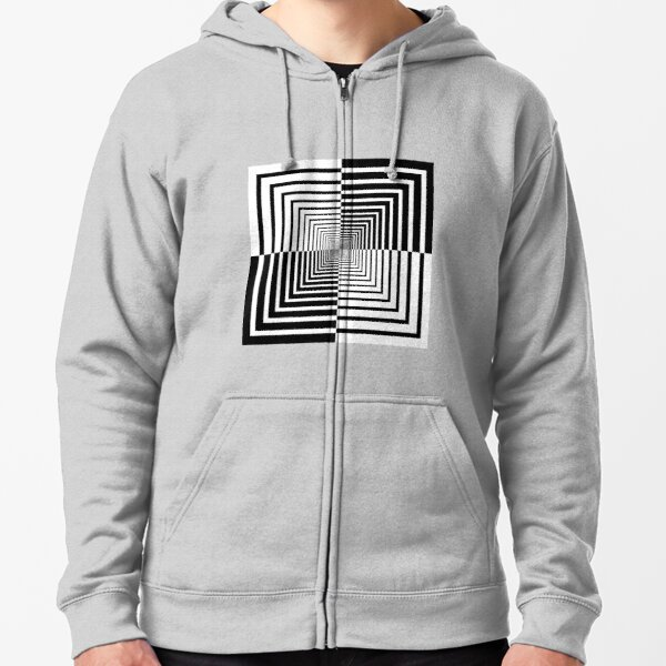 Squares, Op art, short for optical art, is a style of visual art that uses optical illusions Zipped Hoodie