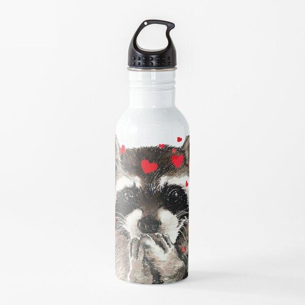 Cute Watercolor Raccoon Blowing Kisses & Hearts Water Bottle