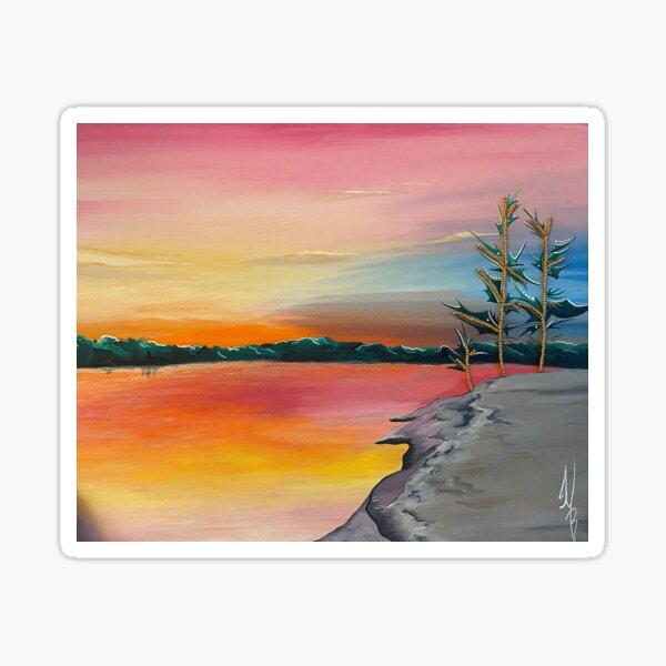 ᐊᑳᒥ ᓵᑲᐦᐃᑲᓂᕁ akâmi-sâkahikanihk- Across The Lake Sticker