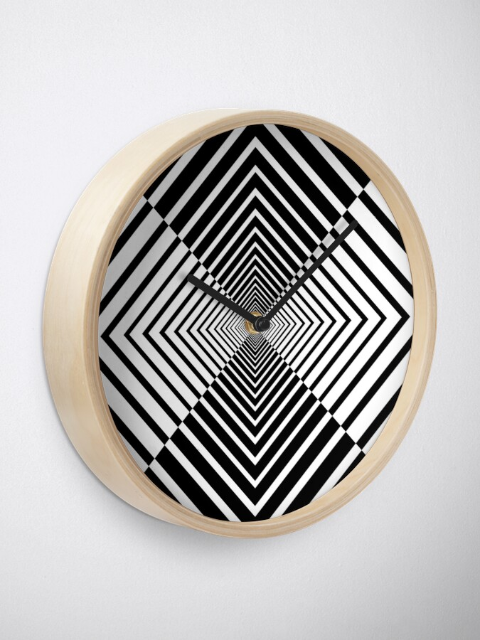 Alternate view of Rhombus, Squares, Op art, short for optical art, is a style of visual art that uses optical illusions Clock