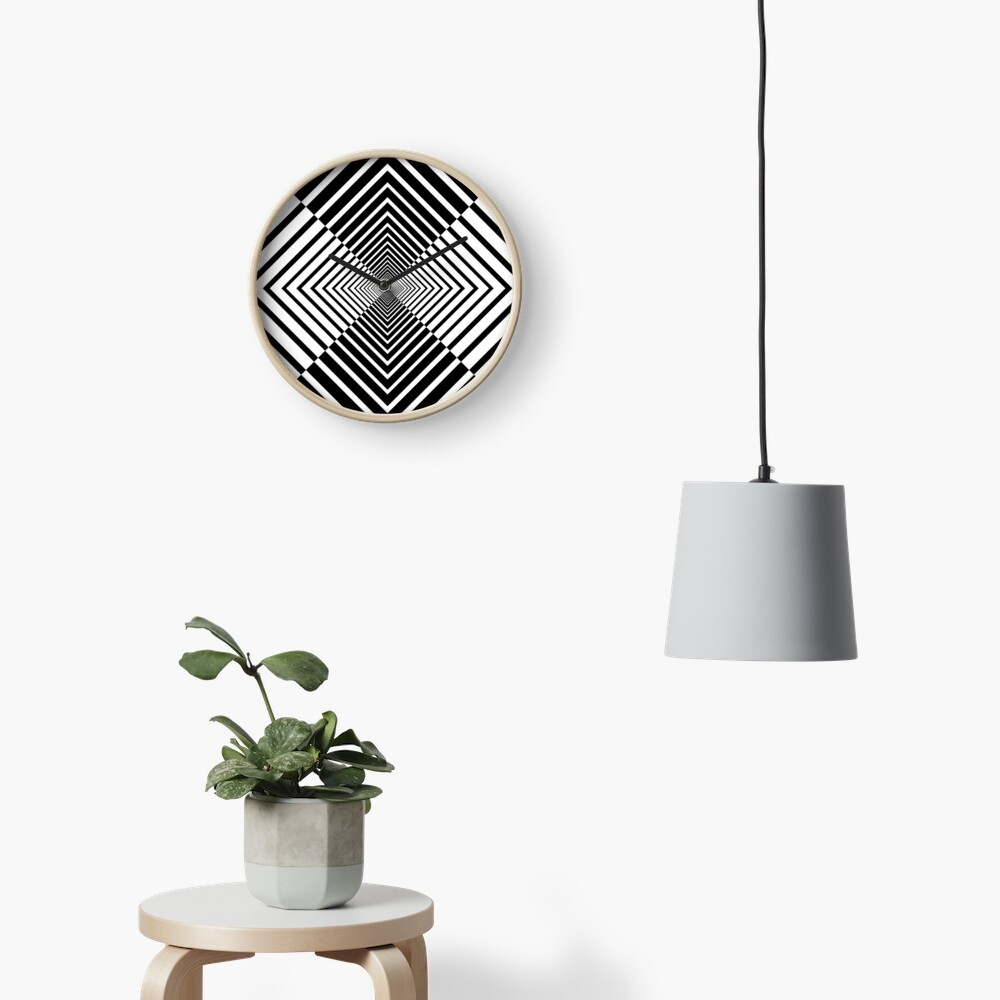 Rhombus, Squares, Op art, short for optical art, is a style of visual art that uses optical illusions Clock