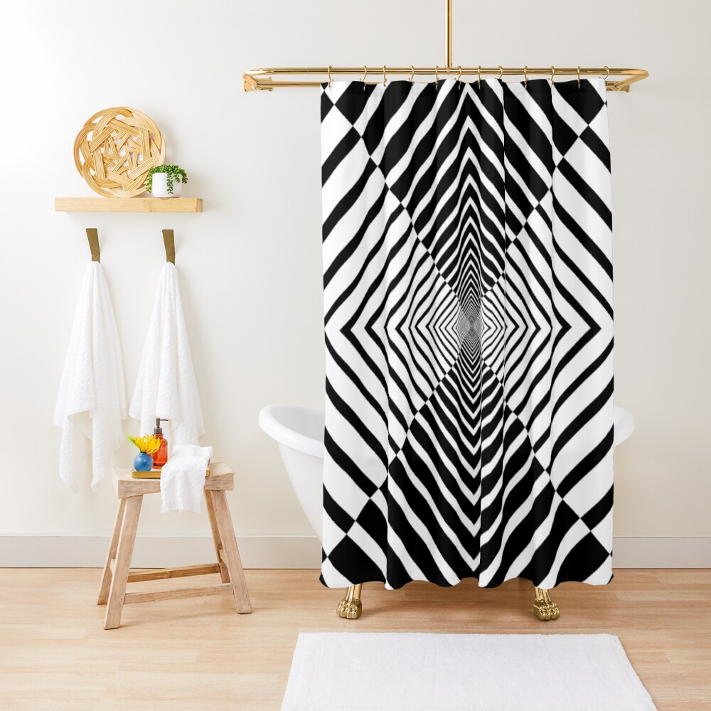 Rhombus, Squares, Op art, short for optical art, is a style of visual art that uses optical illusions Shower Curtain