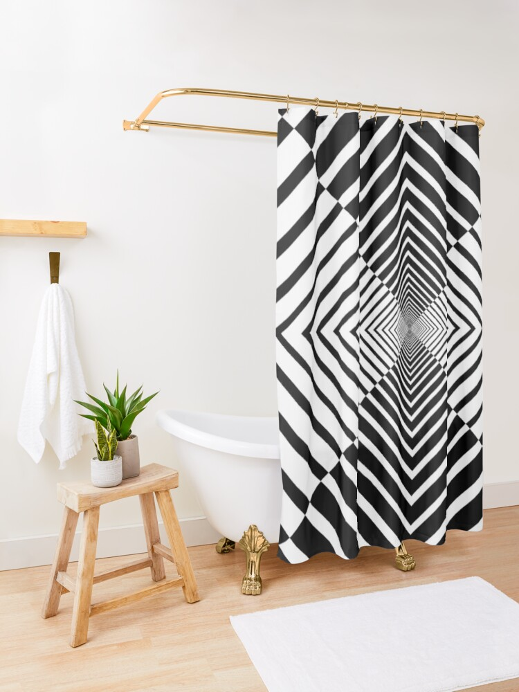 Alternate view of Rhombus, Squares, Op art, short for optical art, is a style of visual art that uses optical illusions Shower Curtain