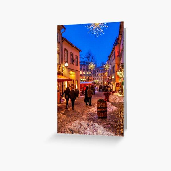 Night winter street scene in Bamberg, Germany Greeting Card