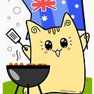 Wahrer australischer Katzenliebhaber! Australiens Tag, BBQ, Flagge von Natalie Cat