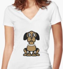 funny sweet lure dog Women's Fitted V-Neck T-Shirt