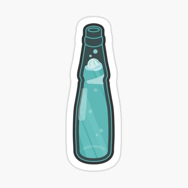 Teal Ramune Soda with Dark Grey Background Sticker