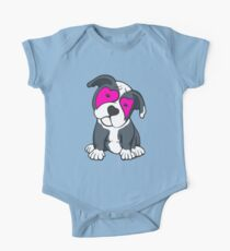 Love Hearts American Pit Bull Terrier Puppy  One Piece - Short Sleeve