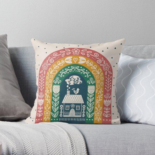 Folk Art Rainbow Throw Pillow