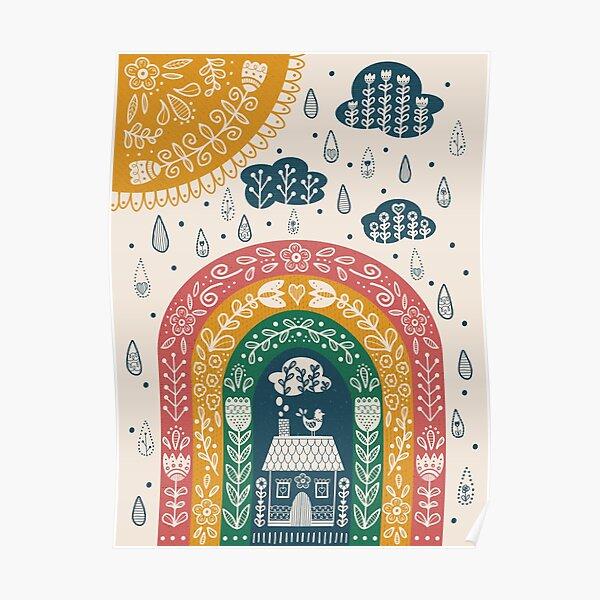 Folk Art Rainbow Poster
