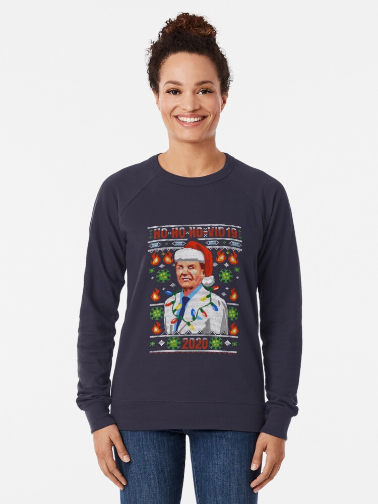 Alternate view of COVID-19 Ugly Christmas Sweater Design The Wind Of God Preacher WTFBrahh Lightweight Sweatshirt