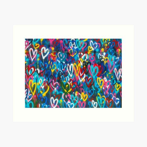 Graffiti Urban colorful graffiti city wall chaotic hearts pattern painting grunge rainbow love Art Print