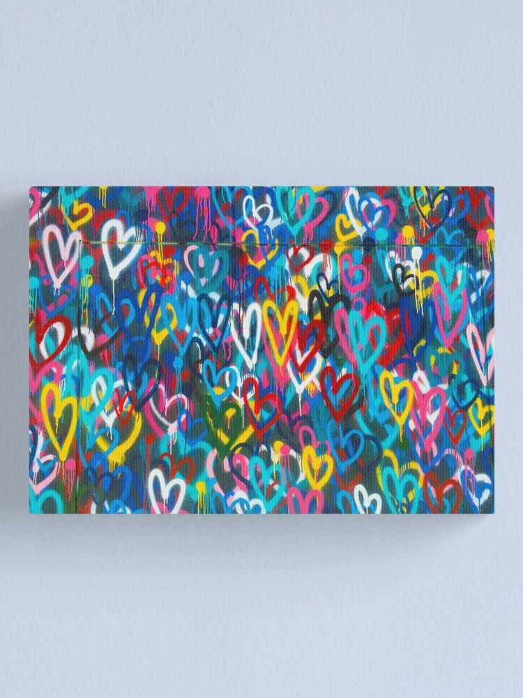 Alternate view of Graffiti Urban colorful graffiti city wall chaotic hearts pattern painting grunge rainbow love Canvas Print