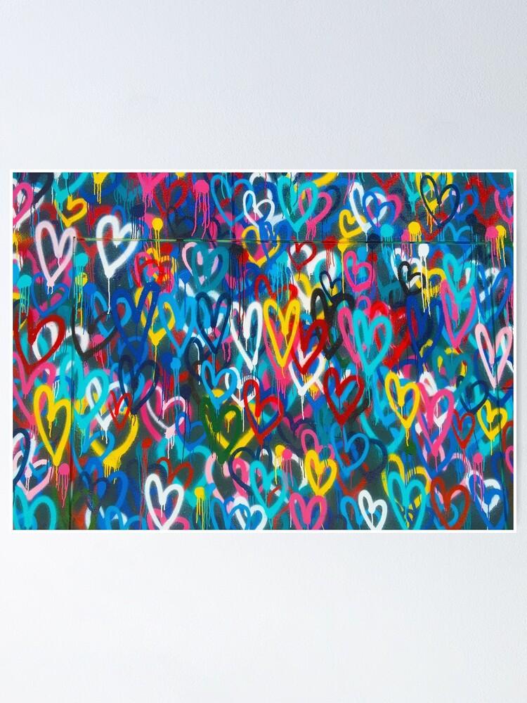 Alternate view of Graffiti Urban colorful graffiti city wall chaotic hearts pattern painting grunge rainbow love Poster