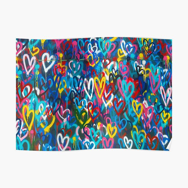 Graffiti Urban colorful graffiti city wall chaotic hearts pattern painting grunge rainbow love Poster