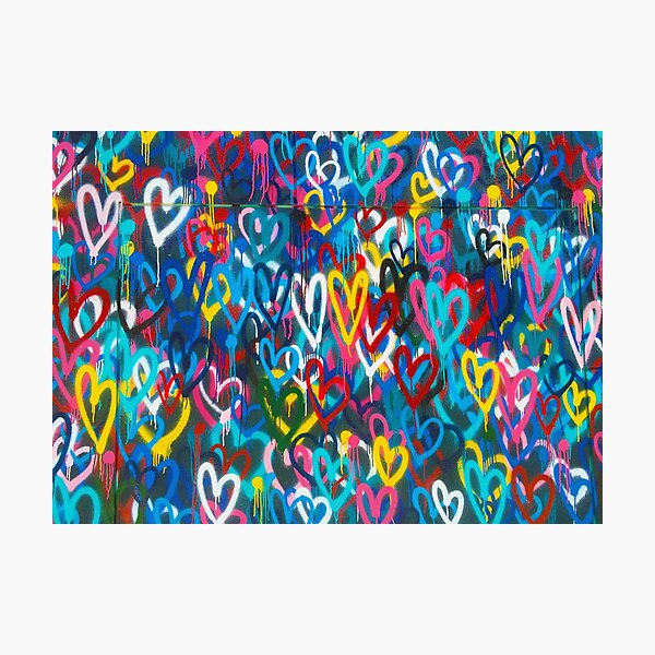 Graffiti Urban colorful graffiti city wall chaotic hearts pattern painting grunge rainbow love Photographic Print