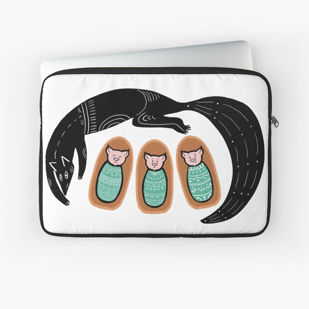 Newborn 3 Little Pigs and the big bad wolf Laptop Sleeve