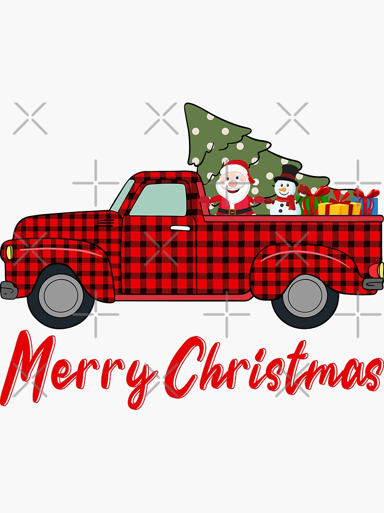 Merry Christmas Funny Buffalo Plaid Truck  by aminedesigner