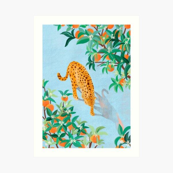 Leopard and Orange Trees Art Print